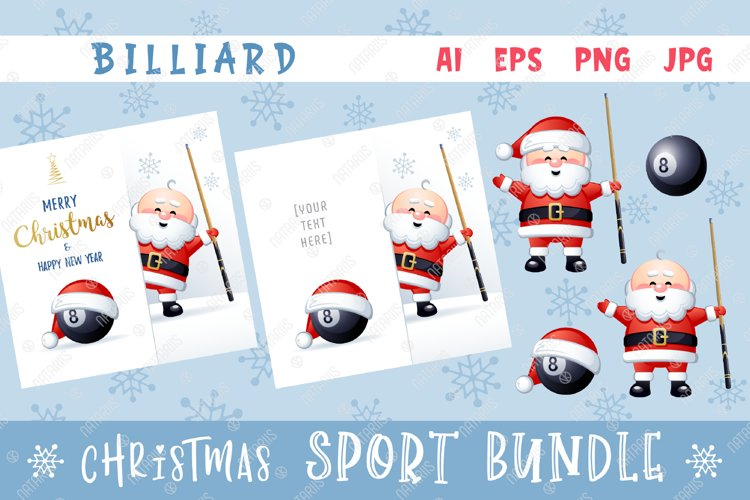 Merry Christmas and Happy New Year. Billiard. example image 1