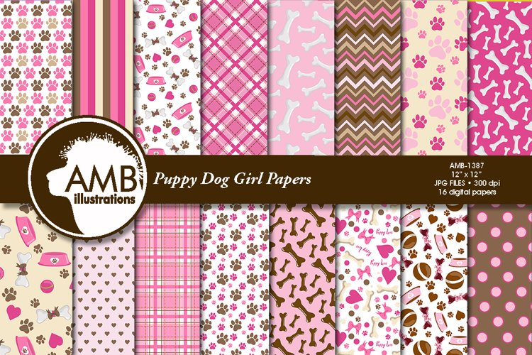 Puppy Dog Girl Papers AMB-1387 example image 1