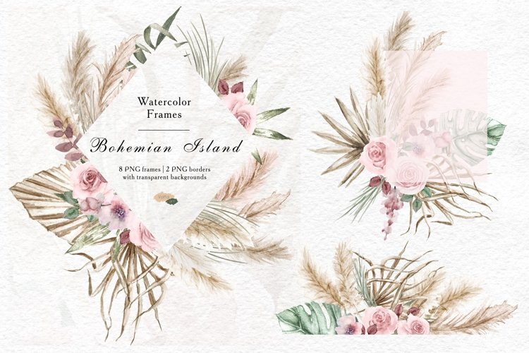 Watercolor tropical leaves and pampas grass geometric frames example image 1