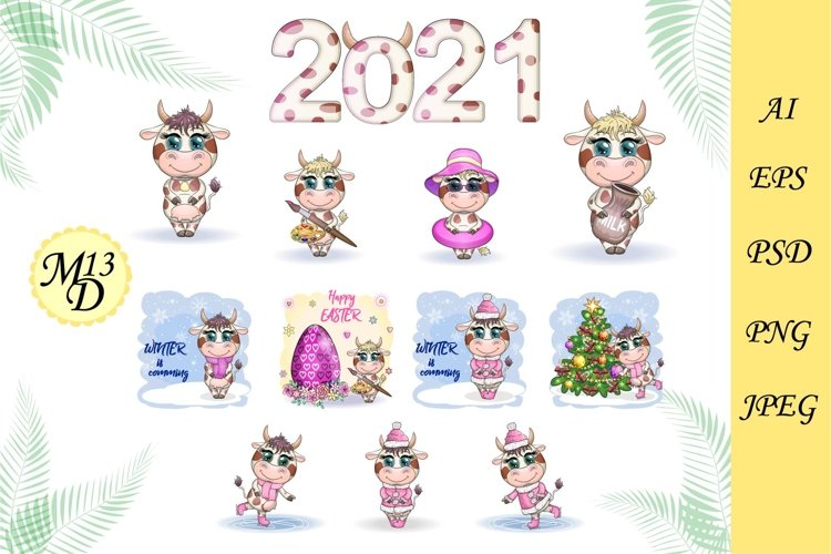 21 different cute cows for the new year 2021, a symbol 2021 example image 1