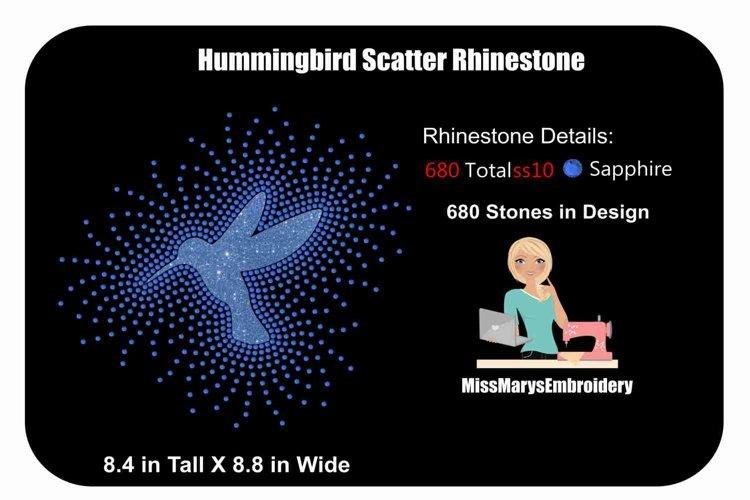 Scattered Hummingbird Rhinestone Template | Rhinestone SVG example image 1