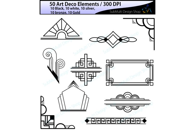 Art deco / art deco elements / art deco element clipart / art deco element in gold, bronze, silver , black and white colors / High Quality