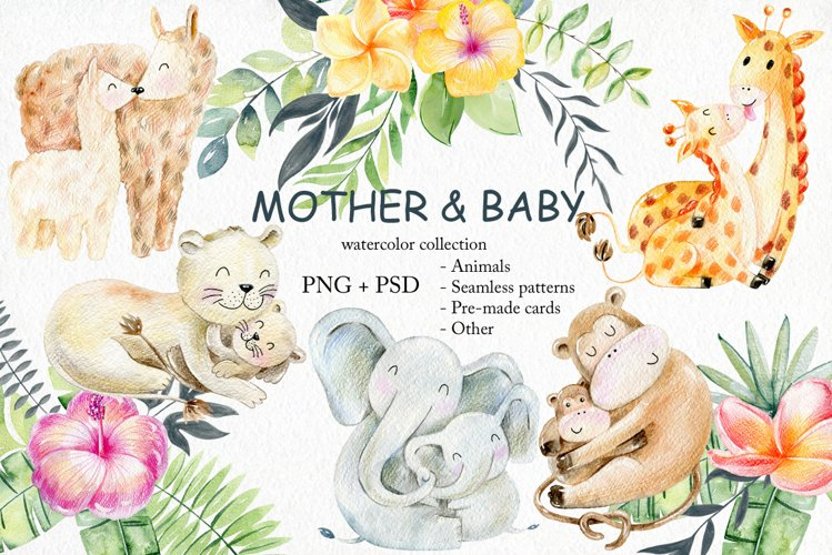 Mother and baby. Watercolor set. example image 1