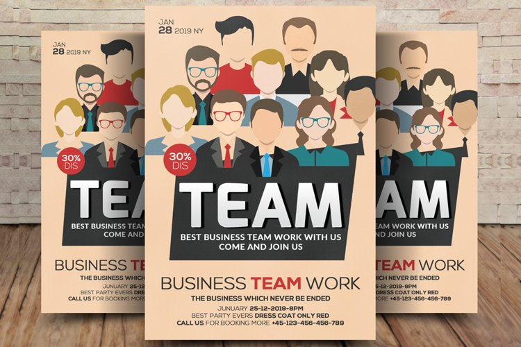 Work Training & Team Building Flyer Template example image 1