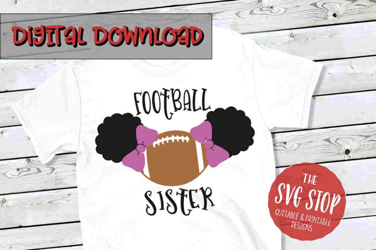 Pigtail Puffs Football Sister -SVG, PNG, DXF
