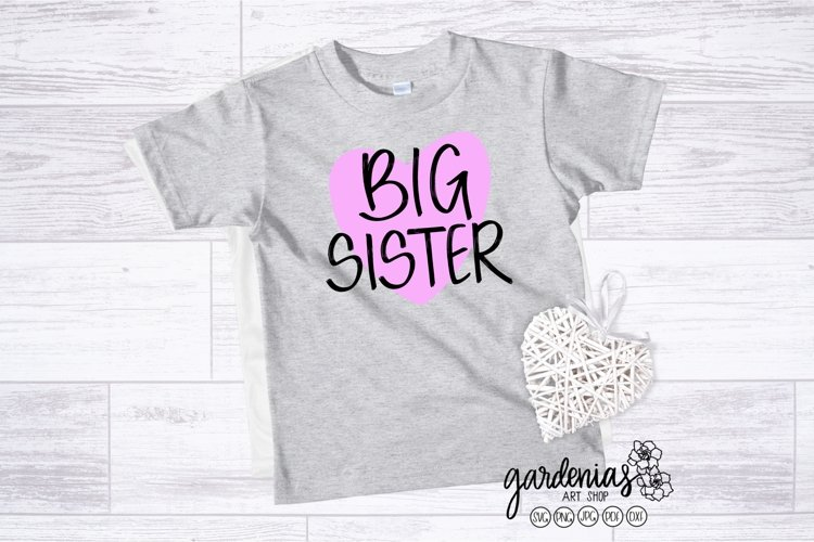 Big Sister with Heart SVG | Pregnancy Announcement Clip Art example image 1