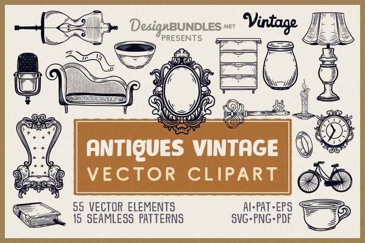 Antiques Vintage Vector Clipart Pack