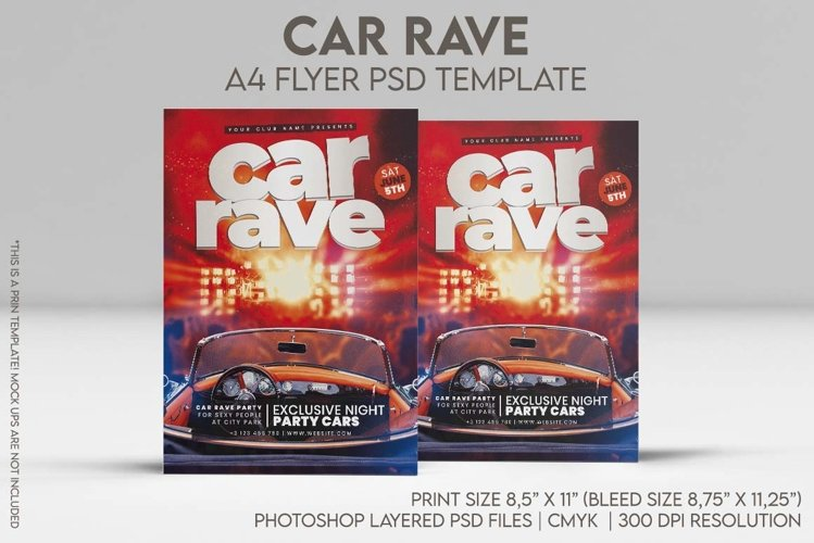 Car Rave A4 Flyer PSD Template example image 1