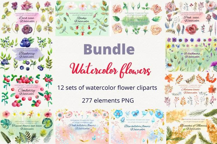 Bundle. Watercolor flowers. Clipart example image 1