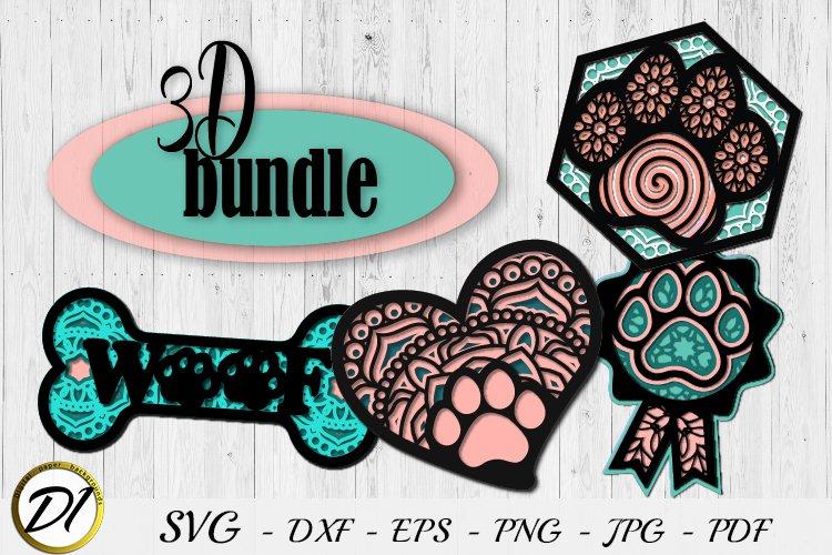 3D layered bundle for pets. Bundle Dog SVG.
