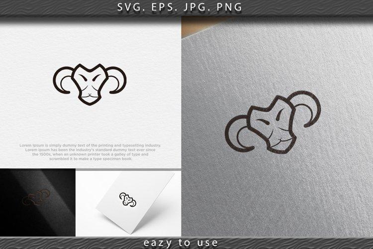mono line sheep, goat head logo Designs Inspiration Isolated example image 1