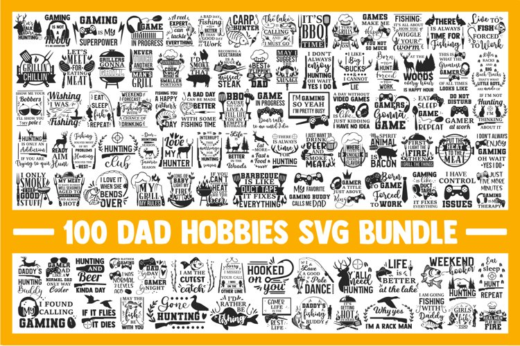 Dad SVG Bundle, fishing svg, gaming svg, hunting svg, bbq