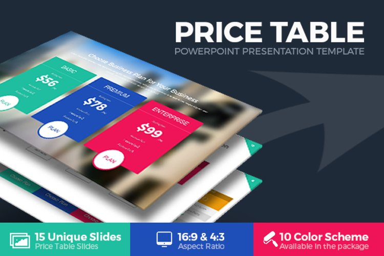 Price Table Powerpoint Template example image 1