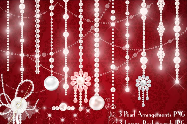 Hanging Pearl Chain Pearl String Pearl Strand Pearl Clip Art example image 1