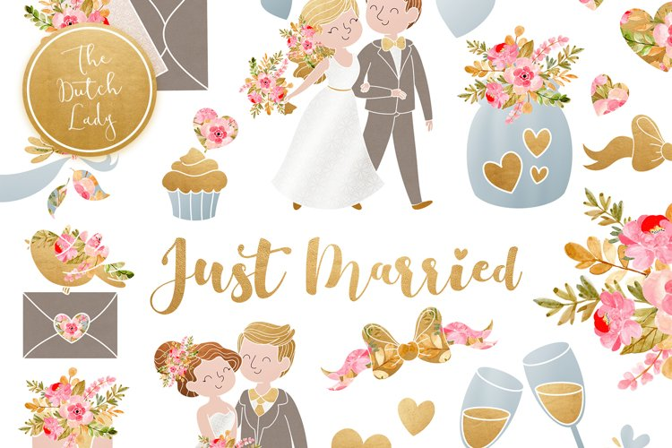 Wedding Day & Marriage Clipart Set example image 1