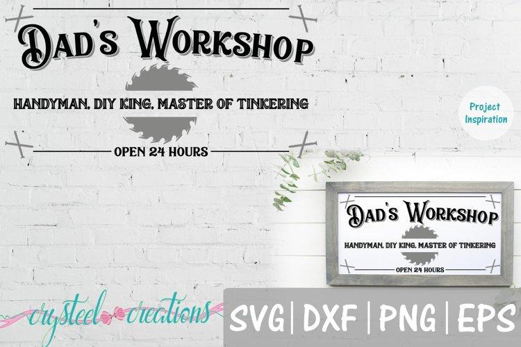 Dads Workshop 12x24 SVG, DXF, PNG, EPS