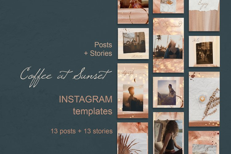 Instagram Template Posts and Stories. Coffee at Sunset example image 1