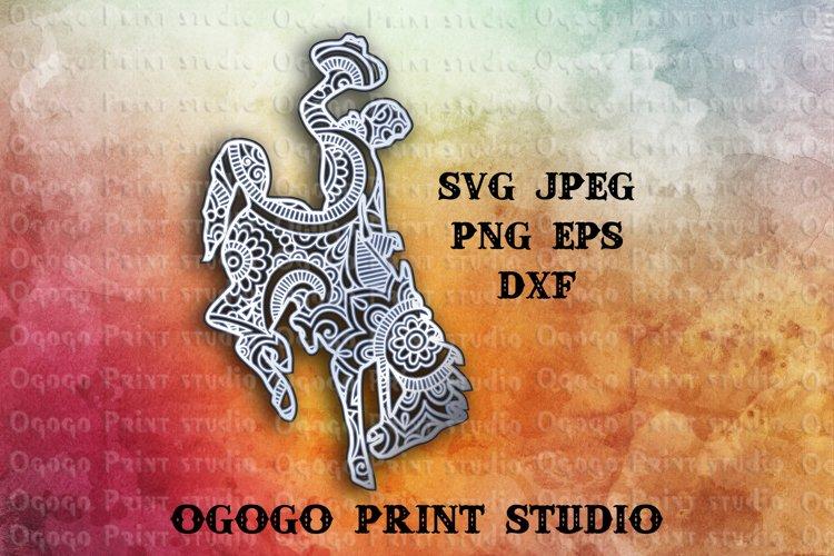 3D Layered Wyoming bucking horse, Mandala Svg, Zentangle SVG example image 1