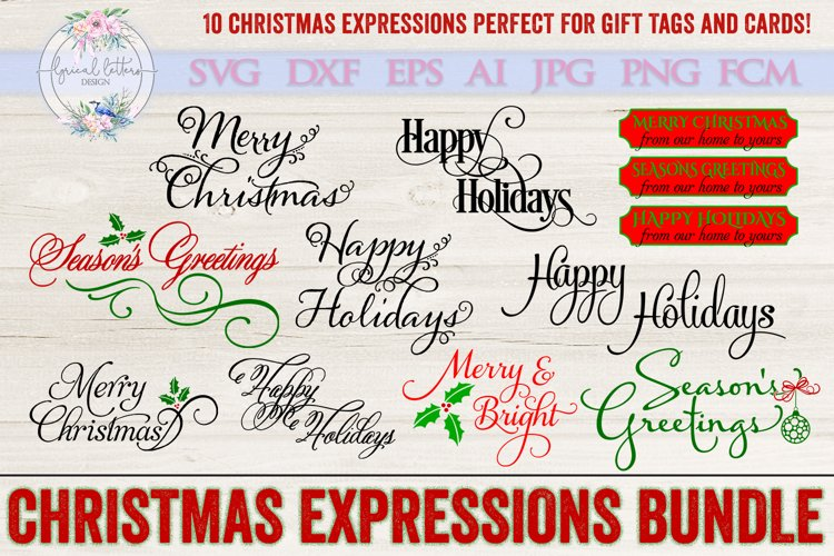 Christmas Expressions Bundle of 10 SVG DXF FCM Cut Files