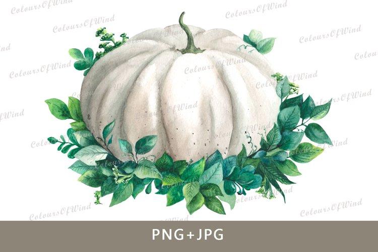 Watercolor pumpkin png. Autumn clipart. Pumpkin transfer. example image 1