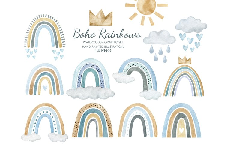 Watercolor boho rainbow clipart. Pastel blue rainbow.