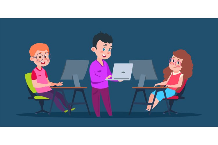 Kids coding at computers. Cartoon character children in comp example image 1