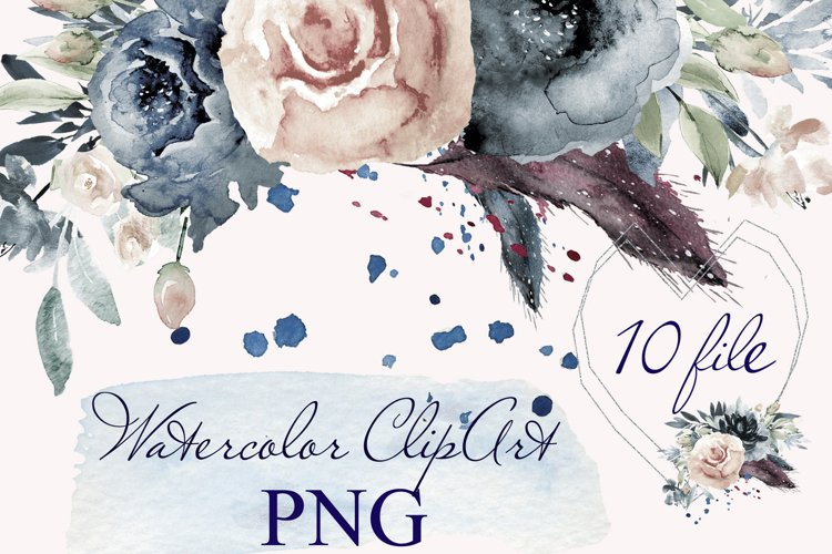 Watercolor Floral Bouquet Frames Clipart