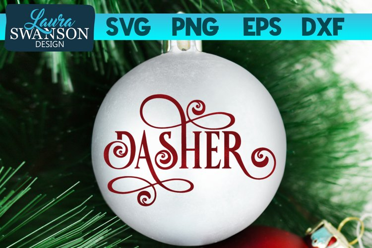 Reindeer Dasher SVG Cut File | Christmas Ornament SVG example image 1