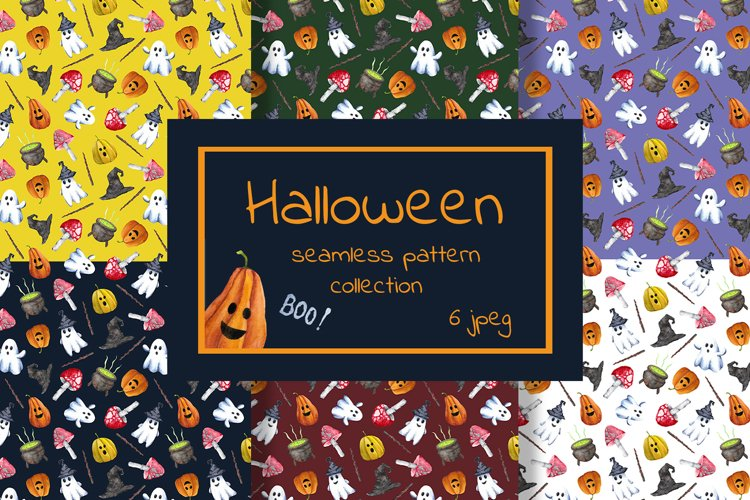 Halloween seamless pattern collection. Trick or treat print. example image 1