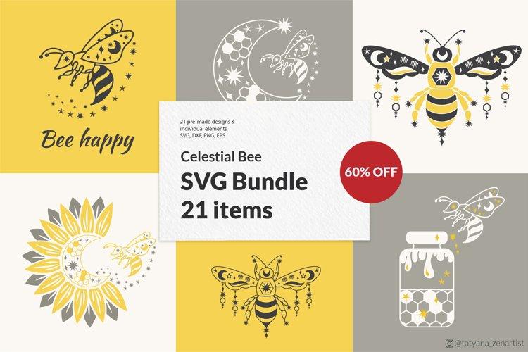 Bee SVG Bundle with sunflower svg, Honey Bee svg, moon svg