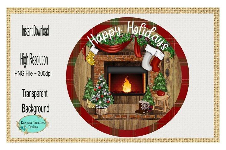 Happy Holidays Fireplace Scenery Sublimation Design