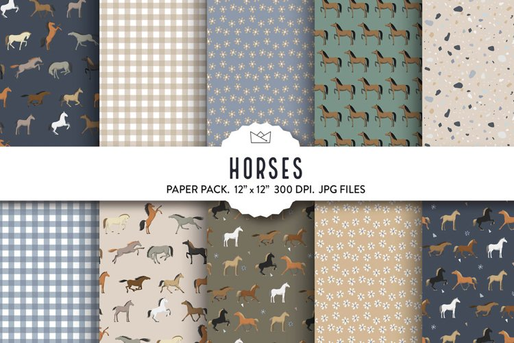 Horse digital paper, animal wrapping paper, horse pattern