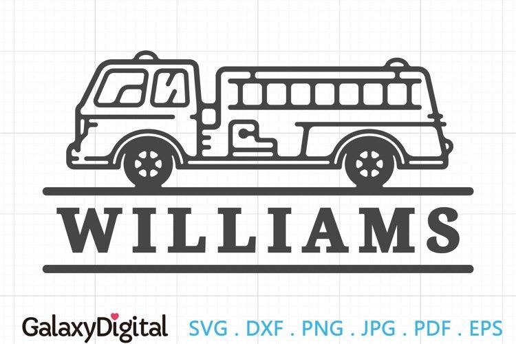 Simple Fire Truck SVG, Fire Truck Monogram SVG -105155
