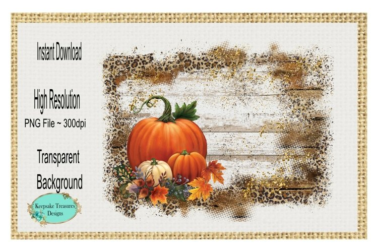 Wood and Leopard Background Frame, Fall Pumpkins PNG