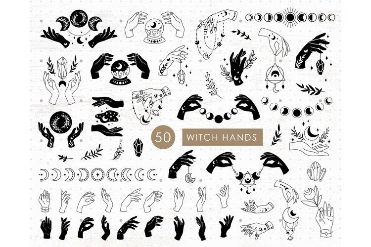Witch hands SVG bundle, Boho clipart set