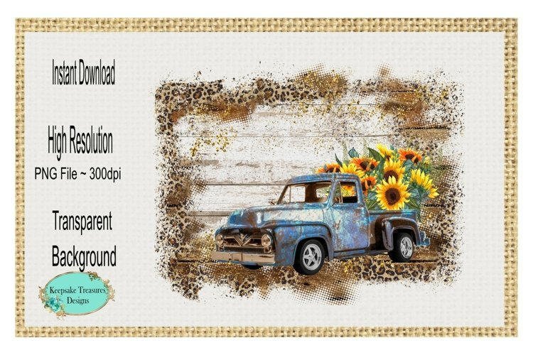 Sunflower Wood and Leopard Background, Vintage Truck PNG