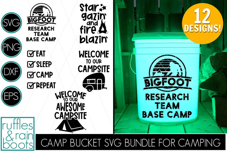 Camping Bucket SVG Bundle with Two Styles for All Designs
