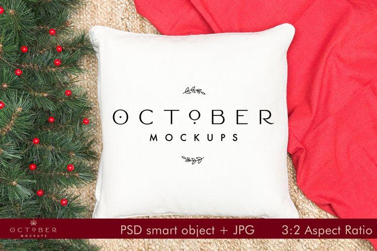 Pillow Mockup Christmas   Christmas Mockup   JPG and PSD