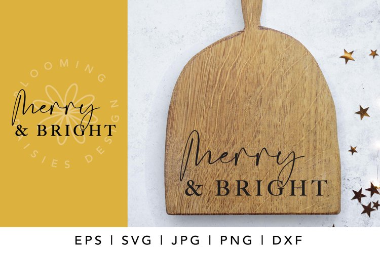 Merry and bright, Christmas sign SVG, Christmas ornament