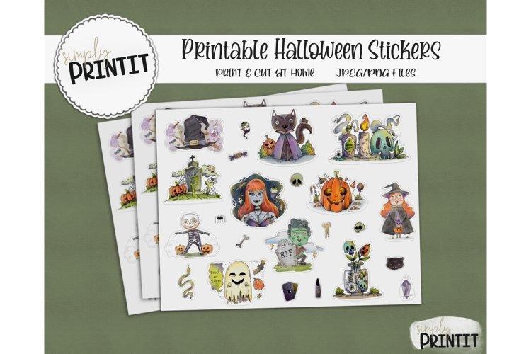 Printable Sticker Bundle, Halloween Stickers example image 1