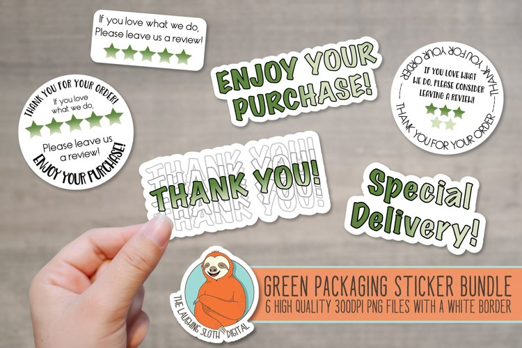 Green Ombre Packaging Stickers - Leave A Review - Thank You