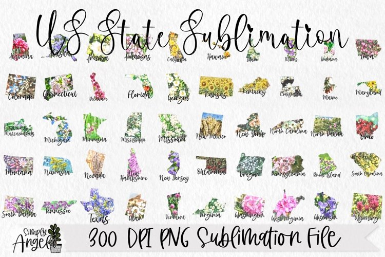 State Bundle Watercolor US State Flowers example image 1