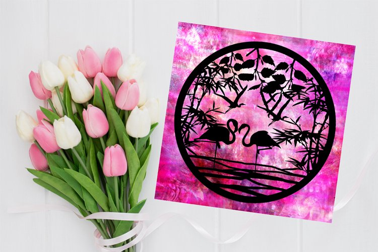 Flamingo Paper Cut Template - Flamingo Svg - Bird Svg