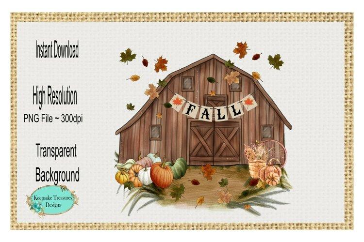 Fall Pumpkin Barn Sublimation Design