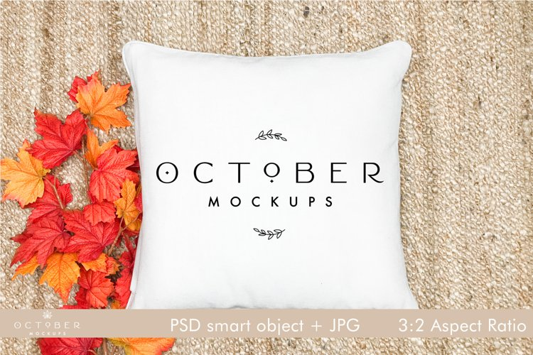 Pillow Mockup Fall   Pillow cover mockup Autumn   JPG  PSD