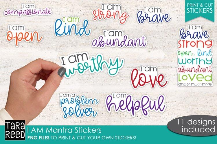 I AM Mantra Sticker Bundle PNG - Print & Cut