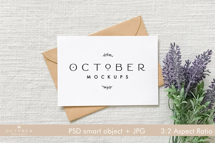 Card Mockup with envelope   JPG and PSD with smart object