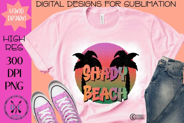 Shady Beach Hand Drawn Summer Sublimation PNG Design example image 1