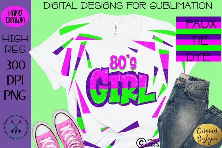 Faux Tie Dye Sublimation t shirt design 80s Girl Retro PNG