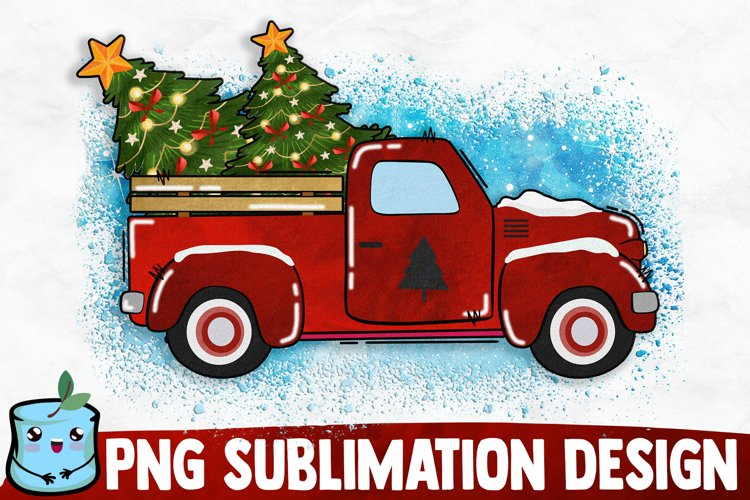 Christmas Old Truck - Christmas Sublimation example image 1